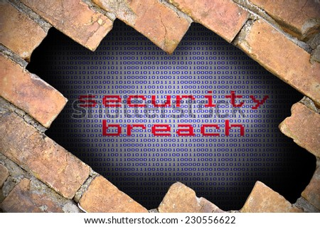 Business Concept For Data Security - Hole In Brick Wall With Binary Digit Background Inside With Security Breach Word.  - stock photo