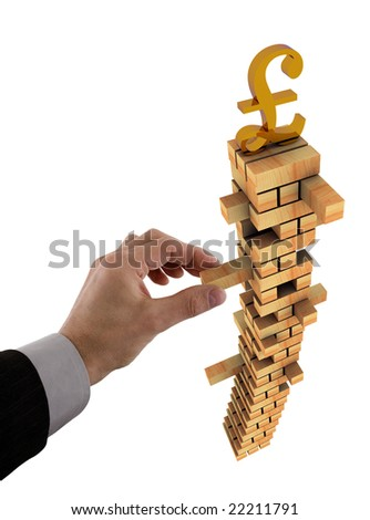 Business concept for instability in the Sterling currency - stock photo