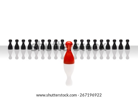 Business concept for leader team, leadership, step forward.Line small black pawn figures, one red in front, gradient surface. Isolated on white background. Copy space, room for text. - stock photo