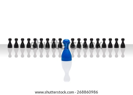 Business concept for leader team, leadership, step forward. Line small black pawn figures, one red in front, gradient surface. Isolated on white background. Copy space, room for text. - stock photo