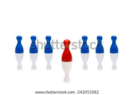 Business concept for leadership team, leadership, step forward. Line blue pawn figures, red one in front. Isolated on white background. Copy space, room for text. - stock photo
