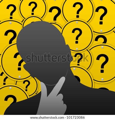 Business Concept for Problem Solving With Question Mark Road Sign Background - stock photo