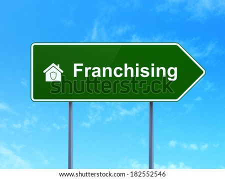 Business concept: Franchising and Home icon on green road (highway) sign, clear blue sky background, 3d render - stock photo