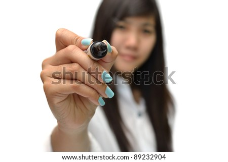 Business concept from business woman on white background.