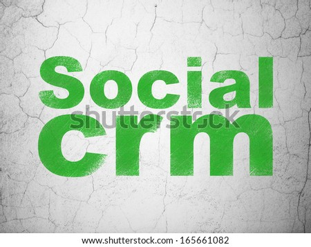 Business concept: Green Social CRM on textured concrete wall background, 3d render