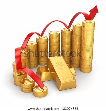 Business concept. Grow in the gold price. 3d - stock photo