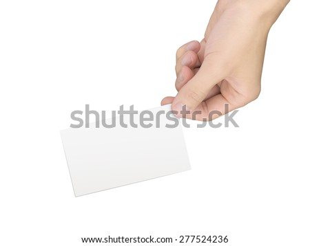 business concept: hand holding a business card over white background