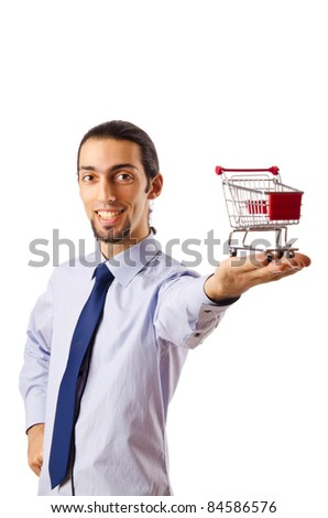 Business concept - Hands holding shopping cart - stock photo