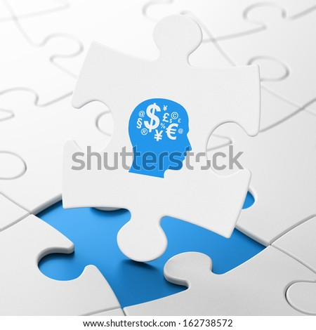 Business concept: Head With Finance Symbol on White puzzle pieces background, 3d render - stock photo