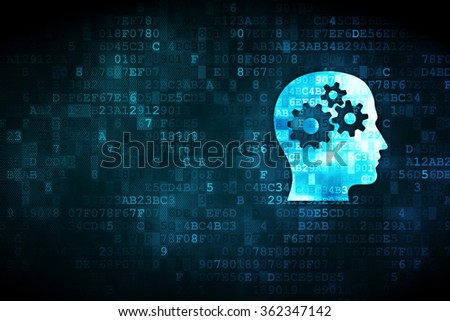 Business concept: Head With Gears on digital background