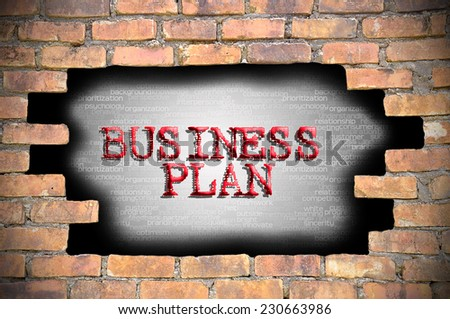 Business Concept - Hole At The Brick Wall And Found Caption Business Plan Inside The Wall. - stock photo