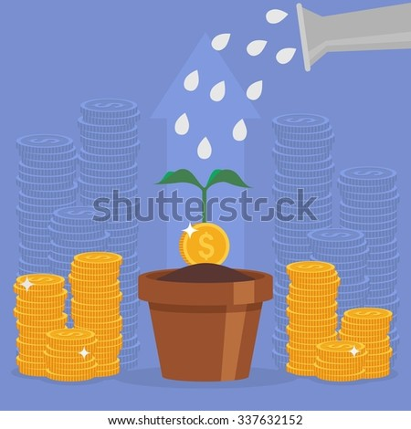 Business concept illustration in flat style. Money investment concept. Money Growth. Business person watering money tree. Dollar coins stack - stock photo