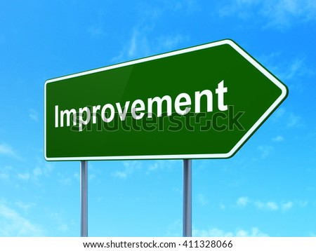 Business concept: Improvement on green road highway sign, clear blue sky background, 3D rendering