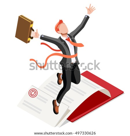 Business concept infographic design. Businessperson 3D character flat ambitious man. Job ambition changing role winning Startup group training goal setting and team management illustration