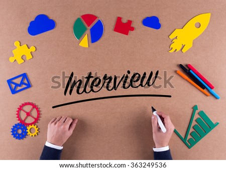 Business Concept-Interview word with colorful icons - stock photo
