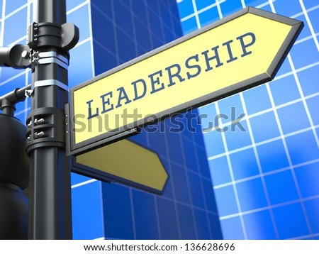 Business Concept. Leadership Sign on Blue Background. - stock photo