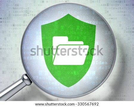 Business concept: magnifying optical glass with Folder With Shield icon on digital background - stock photo
