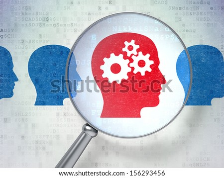 Business concept: magnifying optical glass with Head Whis Gears icons on digital background, 3d render - stock photo