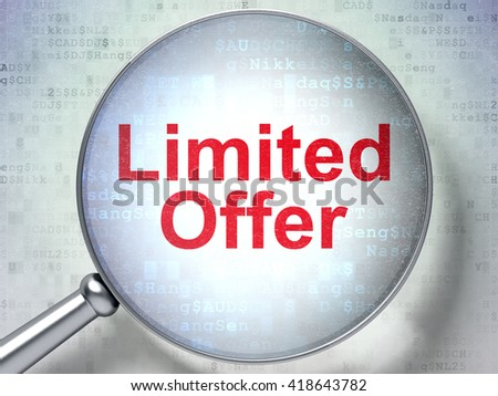 Business concept: magnifying optical glass with words Limited Offer on digital background, 3D rendering - stock photo