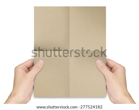 business concept: man's hands holding brown paper over white background - stock photo