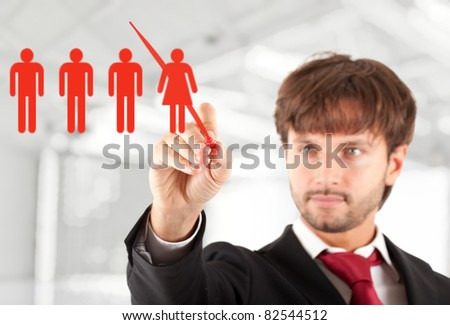 Business concept: manager firing a female worker - stock photo