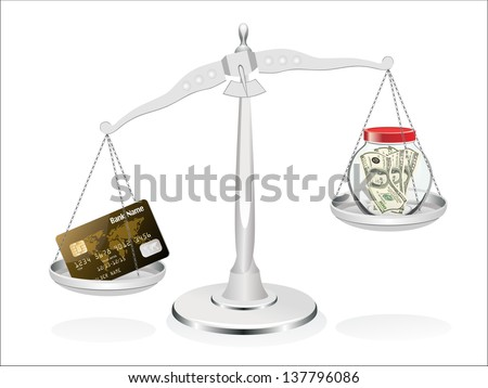 Business concept Many dollars in a glass jar and credit card on scales isolated on white background
