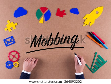Business Concept-Mobbing word with colorful icons