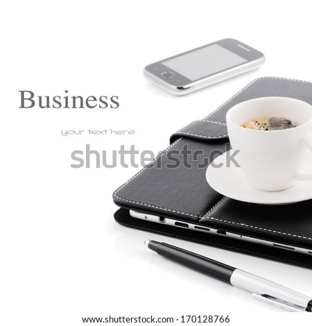 Business concept. Mobile phone, tablet pc and cup of coffee - stock photo