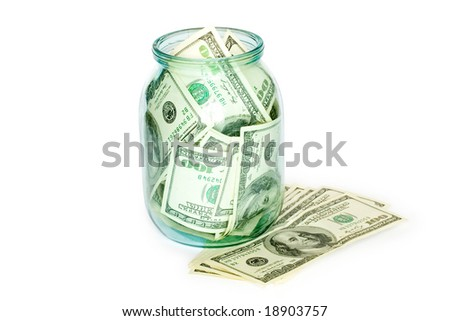 business concept. money in the jar isolated on white