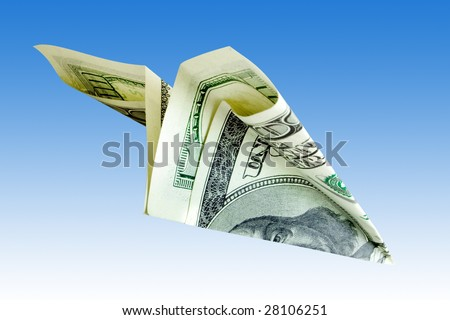 business concept. money plane over blue background - stock photo