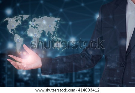 Business concept networking and world connection - stock photo
