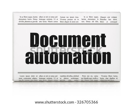 Business concept: newspaper headline Document Automation on White background, 3d render - stock photo
