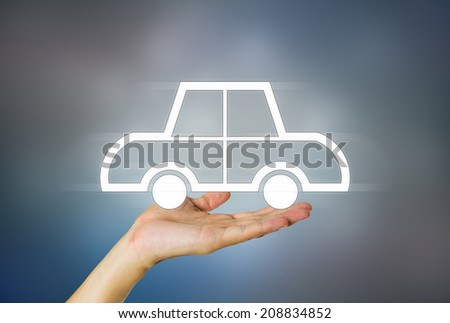 Business concept of auto on dark background. - stock photo