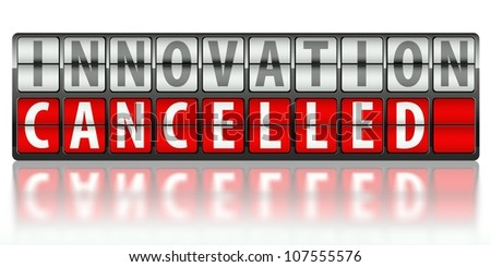 Business concept of innovation, cancelled on display board - stock photo