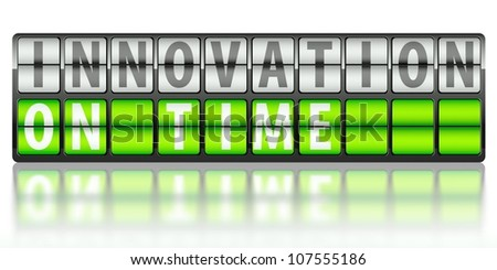 Business concept of innovation, on time display board - stock photo