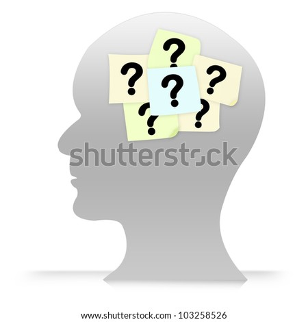 Business Concept of Many Question in Brain Isolated on White Background
