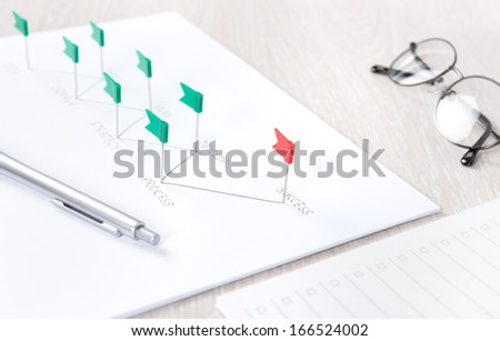 Business concept of planning process and further analyzing of development strategy achieving success on a modern workplace desk with papers and office stuff.  - stock photo