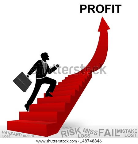Business Concept of Step for Success Present By The Businessman Step Up to Top of Profit Arrow Isolated on White Background - stock photo