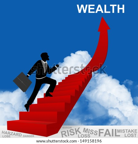 Business Concept of Step for Success Present By The Businessman Step Up to Top of Wealth Arrow in Blue Sky Background  - stock photo
