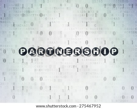 Business concept: Painted black text Partnership on Digital Paper background with Binary Code, 3d render - stock photo