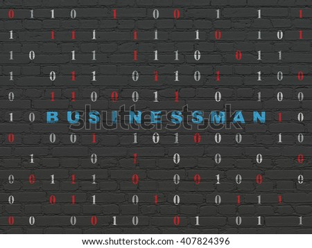Business concept: Painted blue text Businessman on Black Brick wall background with Binary Code - stock photo