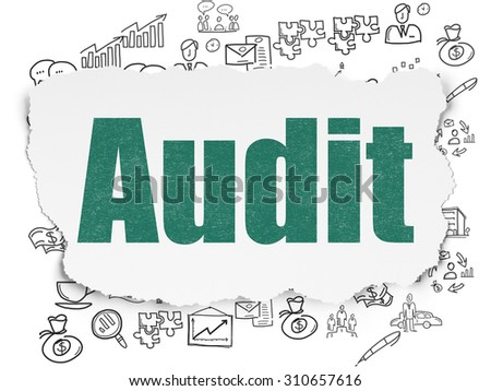 Business concept: Painted green text Audit on Torn Paper background with  Hand Drawn Business Icons - stock photo