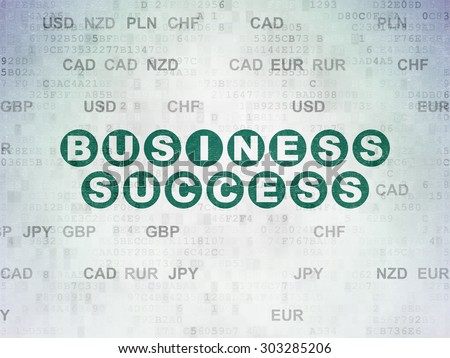 Business concept: Painted green text Business Success on Digital Paper background with Currency, 3d render - stock photo