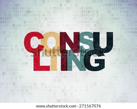 Business concept: Painted multicolor text Consulting on Digital Paper background, 3d render - stock photo