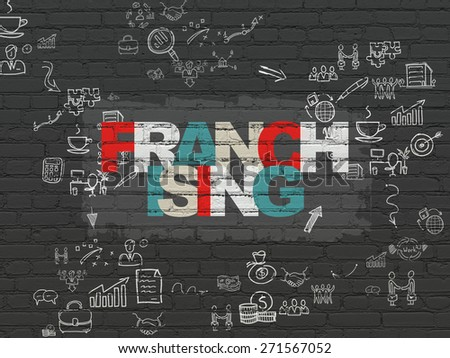 Business concept: Painted multicolor text Franchising on Black Brick wall background with Scheme Of Hand Drawn Business Icons, 3d render - stock photo