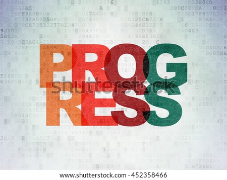 Business concept: Painted multicolor text Progress on Digital Data Paper background