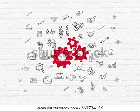 Business concept: Painted red Gears icon on White Brick wall background with  Hand Drawn Business Icons, 3d render - stock photo
