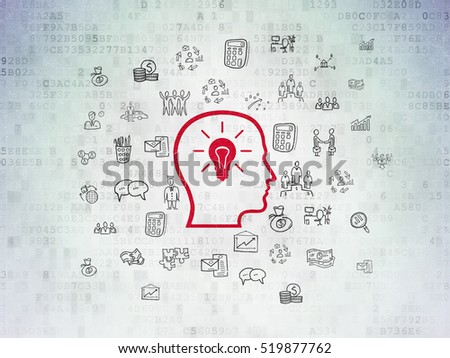 Business concept: Painted red Head With Lightbulb icon on Digital Data Paper background with  Hand Drawn Business Icons