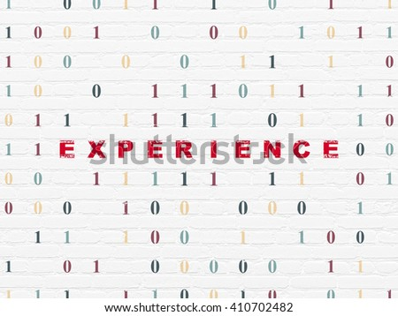 Business concept: Painted red text Experience on White Brick wall background with Binary Code - stock photo