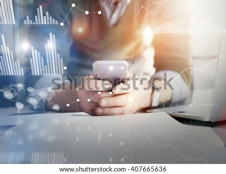 Business concept picture.Account manager working new startup project modern office.Holding contemporary smartphone hands. Worldwide connection technology,stock exchanges graphics interface. Horizontal - stock photo